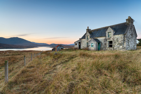 A derelict cottage on the Isle of Lewis in the Outer hebrides of Scotland