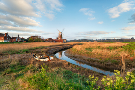 The windmill at Cley next the Sea, a pretty village on the river Glaven on the north coast of Norfolk