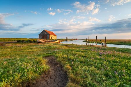 Summer at the old harbour in Thornham on the Norfolk coast