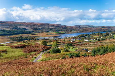 Looking out over the village of Dervaig on the Isle of Mull in Scotland