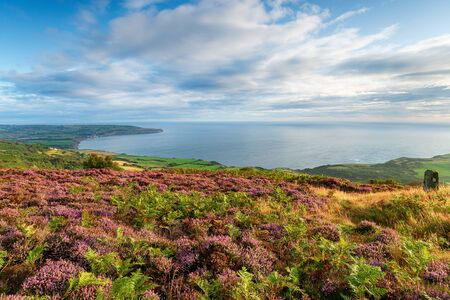 The view from Ravenscar to Robin Hoods Bay in the North York Moors National Park in Yorkshire Stock Photo