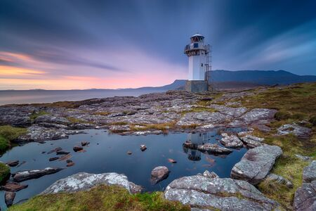 A long exposure of the lighthouse at Rhue 版權商用圖片