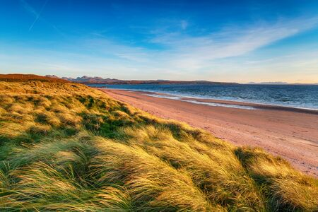 Sand dunes on a windy day Big Sand Beach at Gairloch in the Highlands of Scotland
