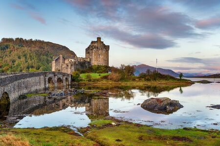 Sunrise at Eilean Donan castle in the Highlands of Scotland