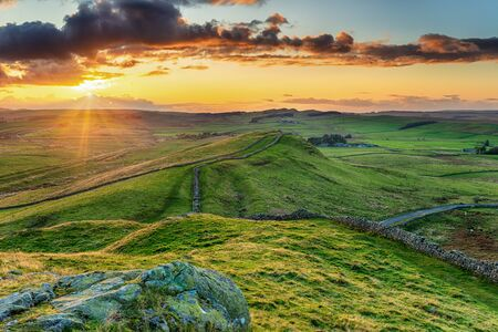 Sunset over Caw Gap on Hadrians Wall near Haltwhistle in Northumberland