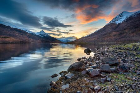 Sunset from the shores of Loch Leven near Kinlochleven in the Highlands of Scotland