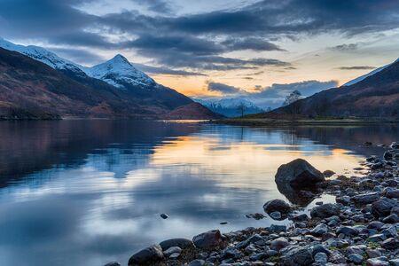 Night falls over Loch Leven near Glencoe in the Highlands of Scotland
