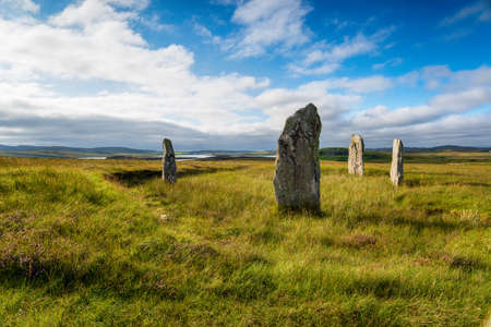 The Ceann Hulavig stone circle on the Isle of Lewis in the Outer Hebrides of Scotland, Stock fotó