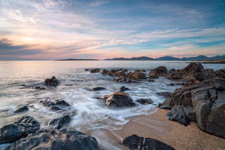 Rocks on the beach at Bagh Steinigidh on the Isle of Harris in Scotland