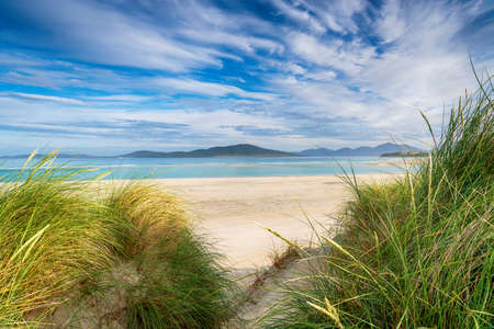 Sand dunes at Seilebost beach on the Isle of Harris in the Outer Hebrides of Scotland Stock fotó