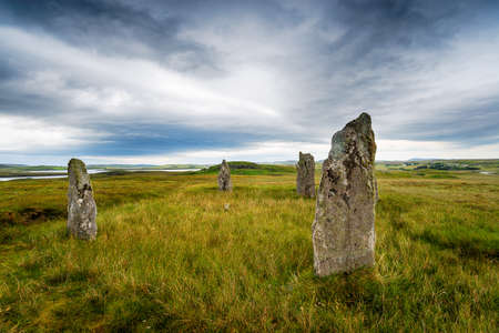 Ceann Hulavig Stone Circle on the Isle of Lewis in the Outer Hebrides of Scotland also known as Callanish IV