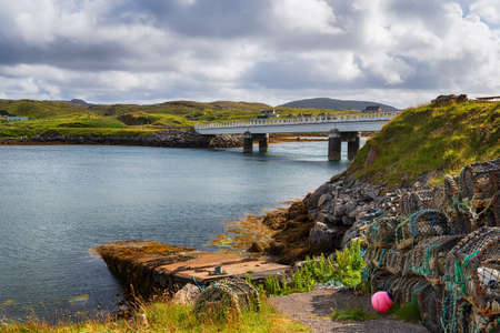 The Bridge over the Atlantic linking the Isle of Great Bernera with the Isle of Lewis in the Outer Hebrides of Scotland Stock fotó