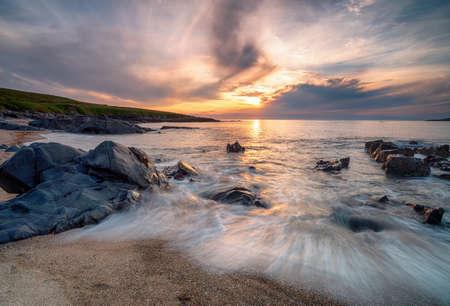 Sunset at Bagh Steinigidh beach near Borve on the Isle of Harris in Scotland
