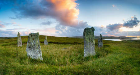 Sunset at the Ceann Hulavig also known as the Callanish IV Stone Circle on the Isle of Lewis in the Outer Hebrides of Scotland Stock fotó