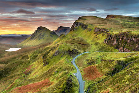 Autumn sunrise at the Quiraing, the northernmost summit of the Trotternish on the Isle of Skye in Scotland
