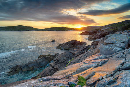 Sunset over the cliffs at Huisinis on the Isle of Harris in the Outer Hebrides of Scotland