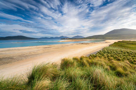The long sandy beach at Seilebost on the Isle of Harris in the Outer Hebrides of Scotland