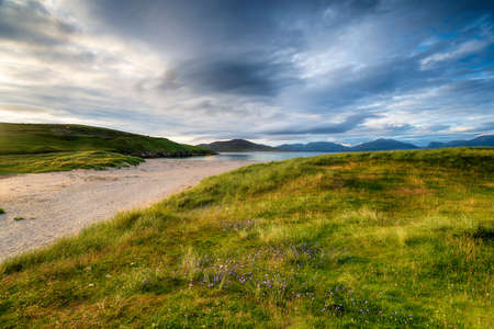 Summer at Traigh Horgabost beach on the Isle of Harris in the Western Isles of Scotland