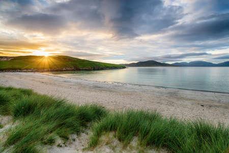 Sunset at Traigh Niosaboist beach on the Isle of Harris in the Western Isles of Scotland