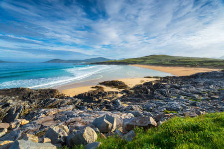 A sunny morning at Traigh Lar beach at Seilebost on the Isle of Harris in the Outer Hebrides of Scotland