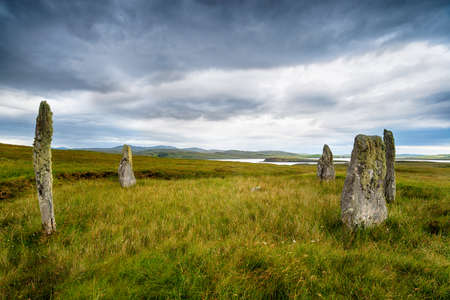 The Callanish IV stone circle, Ceann Hulavig on the Isle of Lewis in the Western isles of Scotland