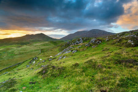 Sunset over the hills ar Rodel on the Isle of Harris in the Western isles of Scotland