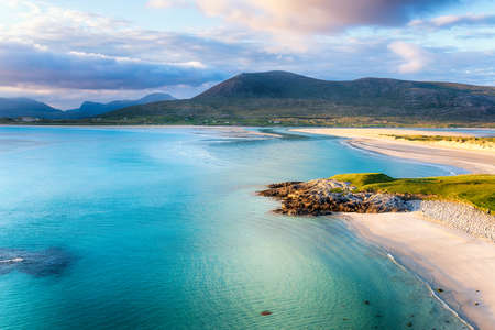 Summer evening at Seilebost on the Isle of Harris in the Outer Hebrides of Scotland