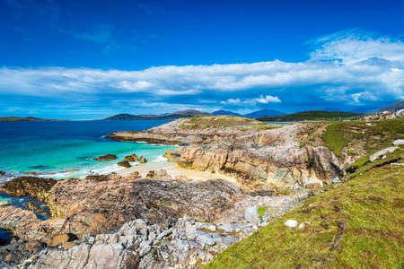 The wild and rugged coastline at Seilebost on the Isle of Harris in the Outer Hebrides of Scotland
