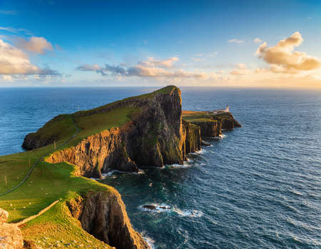 Nesit Point lighthouse in the evening light on the Isle of Skye in Scotland