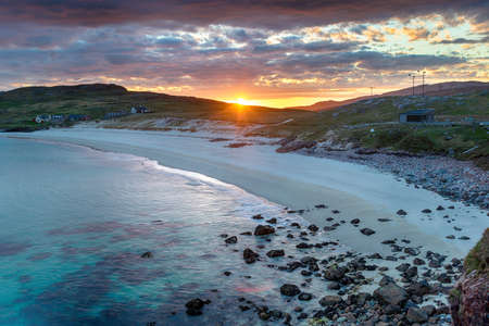 Beautiful stormy sunset over Hushinish beach on the Isle of Harris in Scotland