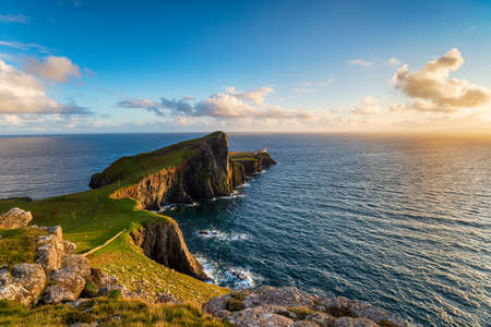 Evening at Neist Point over looking the lighthouse on the Isle of Skye in Scotland Stock fotó