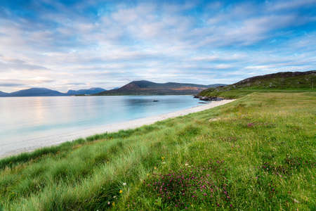 Coastal grassland at Horgabost on the Isle of Harris in the Western isles of Scotland