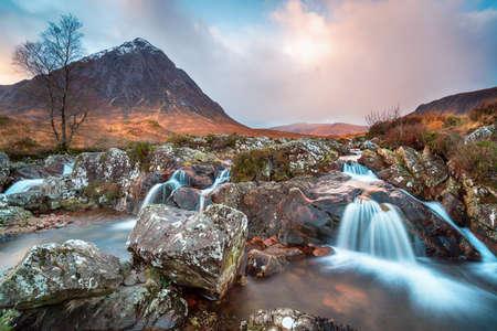 Beautiful waterfalls at Glen Etive in the Highlands of Scotland Stock fotó