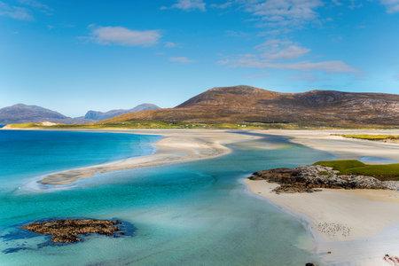 Blue skies over Luskentyre beach on the Isle of Harris in Scotland