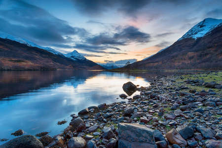 Winter sunset from the north shores of Loch Leven near Glencoe in the Scottsih Highlands