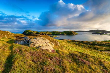 Summer on the coast at Rodel on the Isle of Harris in the Outer Hebrides of Scotland