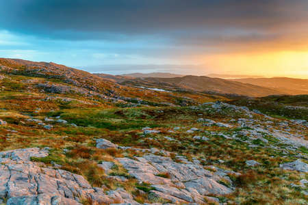 Glorious sunset from the top of the Bealach na Ba near Applecross on the NC500 route in Scotland
