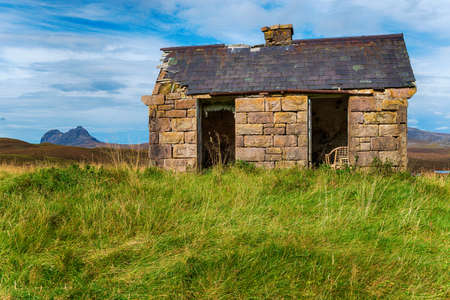An old bothy at Elphin in the Highlands of Scotland and on the NC500 tourist route