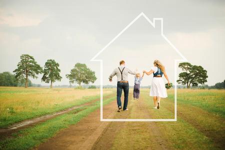 gezin en huis Stockfoto