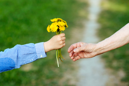 the grandson gives to the grandmother flowers Banco de Imagens