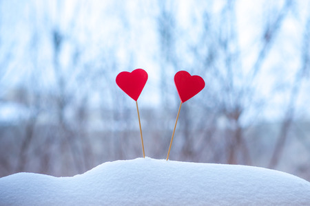 two beautiful hearts on a winter background Reklamní fotografie