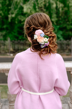 beautiful wedding hairstyle at the girl Stock Photo