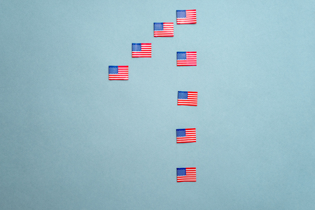 photo of the American flag on a blue background