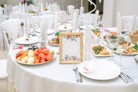 wedding table in a restaurant Banco de Imagens