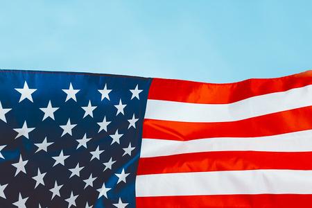 big american flag on blue background Banco de Imagens