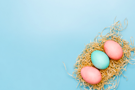 lots of Easter eggs on paper background