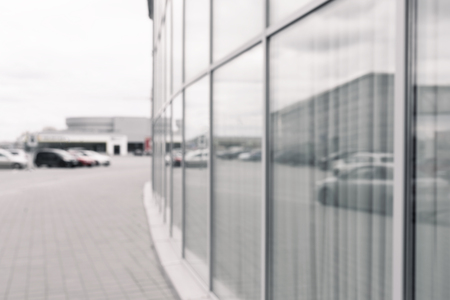 blurred photo of modern glass shopping mall Banco de Imagens