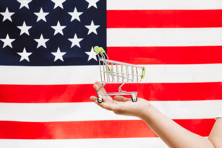 shopping cart on american flag background