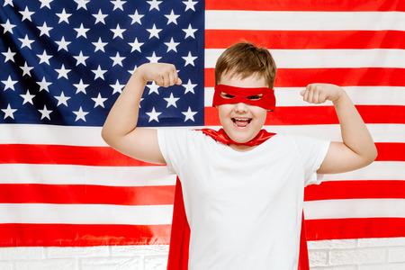 superhero on american flag background