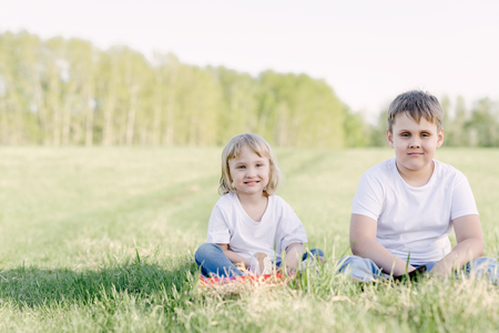brother and sister in the summer in nature Banco de Imagens